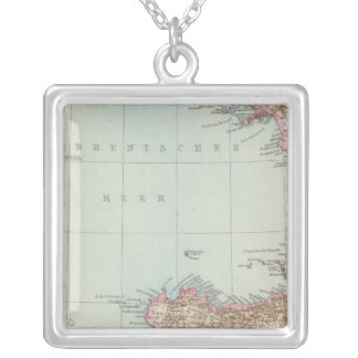 Italien sudliche Halfte, Map of South Italy Silver Plated Necklace