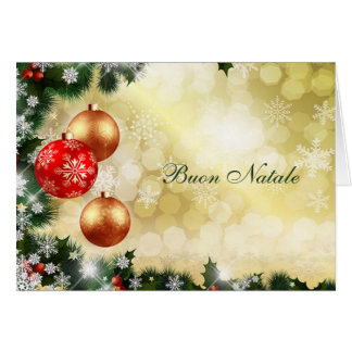 Italisn Chrismas - red, gold baubles, snowflakes Card