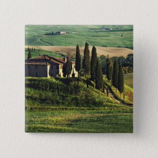 Italy. A pastoral Tuscany villa in Val d'Orcia. 15 Cm Square Badge