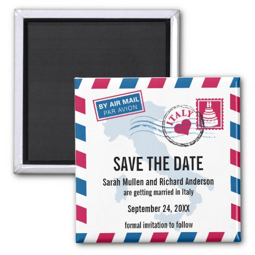 Italy Air Mail Wedding Save the Date Fridge Magnets