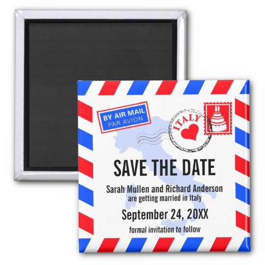 Italy Air Mail Wedding Save the Date Square