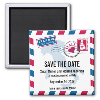 Italy Air Mail Wedding Save the Date Square Magnet