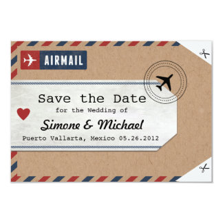Italy Airmail Luggage Tag Invite Italy Map kraft