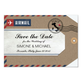 Italy Airmail Luggage Tag Save the Date 9 Cm X 13 Cm Invitation Card