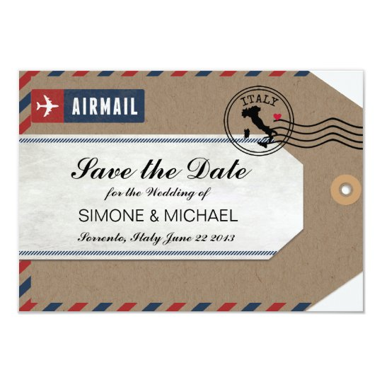 Italy Airmail Luggage Tag Save the Date Card