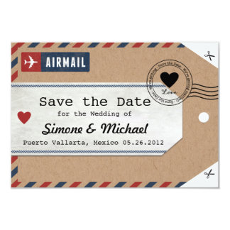 Italy Airmail Luggage Tag Save the Date with Map 9 Cm X 13 Cm Invitation Card