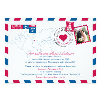 Italy Airmail Post Wedding Reception 5x7 Paper Invitation Card