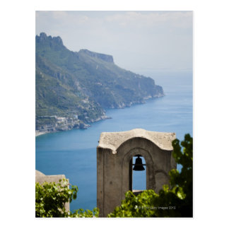 Italy, Amalfi Coast, Ravello, Bell tower with Postcard