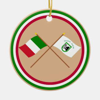 Italy and Le Marche crossed flags Christmas Ornament