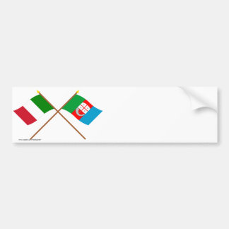 Italy and Liguria crossed flags Bumper Sticker