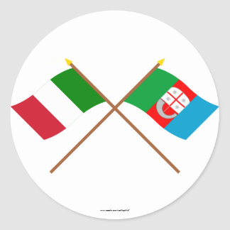Italy and Liguria crossed flags Classic Round Sticker