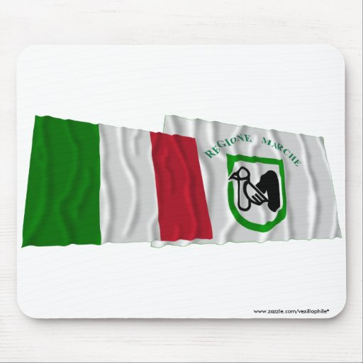 Italy and Marche waving flags Mousepad