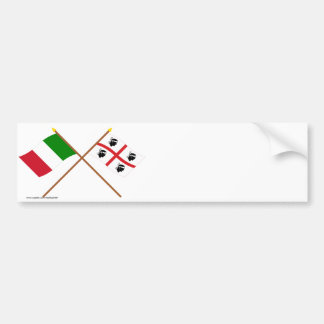 Italy and Sardegna crossed flags Bumper Sticker