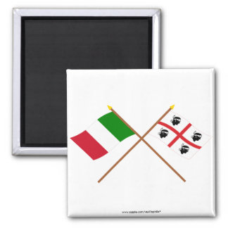 Italy and Sardegna crossed flags Magnet