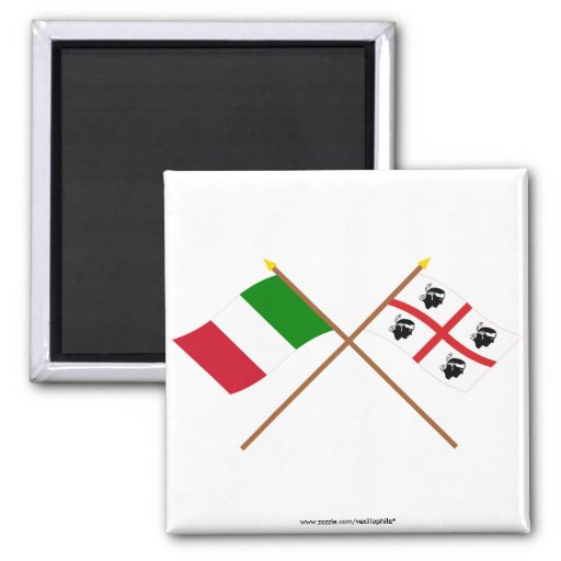 Italy and Sardegna crossed flags Fridge Magnets