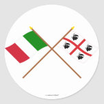 Italy and Sardegna crossed flags Round Stickers