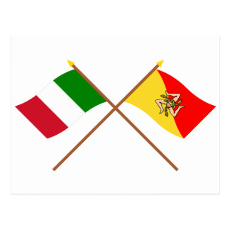 Italy and Sicilia crossed flags Postcards