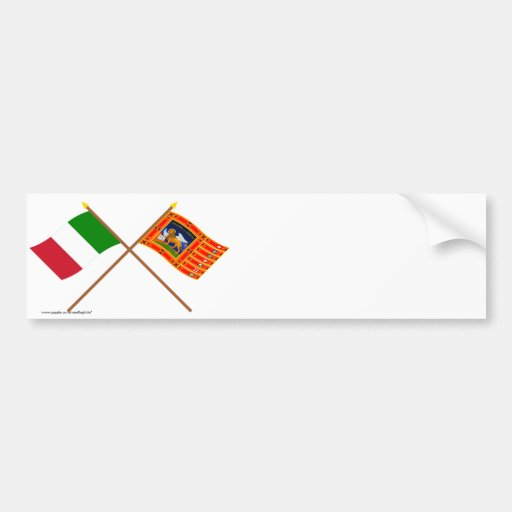 Italy and Veneto Crossed Flags Bumper Stickers
