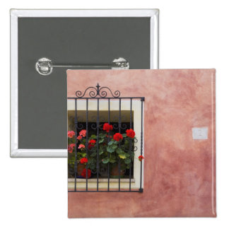 Italy, Asciano, Window Boxes with Fresh Spring 15 Cm Square Badge