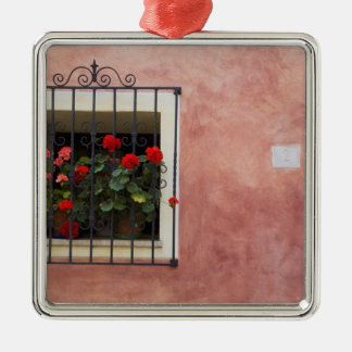 Italy, Asciano, Window Boxes with Fresh Spring Christmas Ornament
