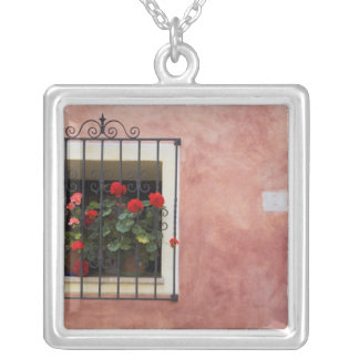 Italy, Asciano, Window Boxes with Fresh Spring Silver Plated Necklace