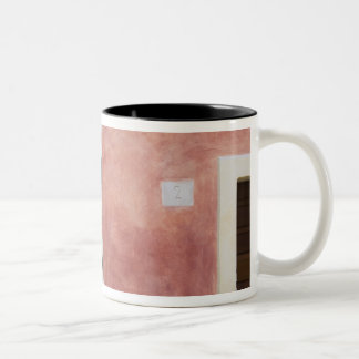 Italy, Asciano, Window Boxes with Fresh Spring Two-Tone Coffee Mug