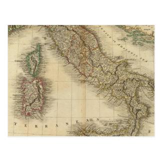 Italy Atlas Map Postcard