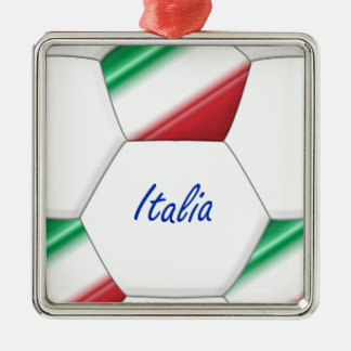 ITALY ball SOCCER of national team and flag Silver-Colored Square Decoration