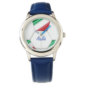 ITALY ball SOCCER of national team and flag Wrist Watches