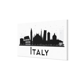 Italy Black and White Skyline Canvas Print