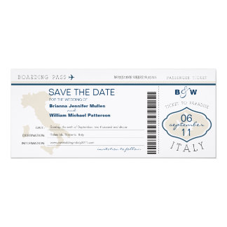 Italy Boarding Pass Save the Date 10 Cm X 24 Cm Invitation Card