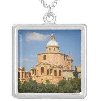 Italy, Bologna, Sunny Day with Portico di San Silver Plated Necklace