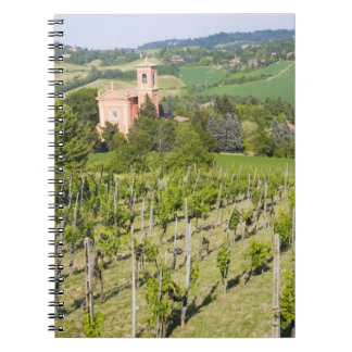 Italy, Bologna, View through Vineyard to Chiesa Notebook
