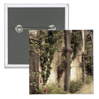 Italy, Brescia Province, Gardone Riviera. Garden 15 Cm Square Badge