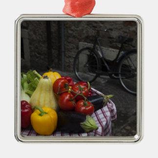 Italy, Brescia Province, Gargnano. Table with 2 Silver-Colored Square Decoration