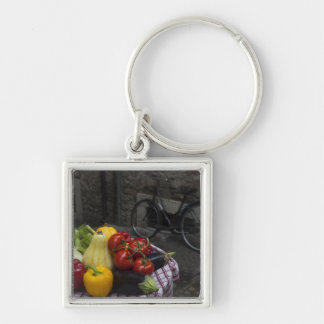 Italy, Brescia Province, Gargnano. Table with 2 Silver-Colored Square Key Ring