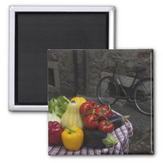 Italy, Brescia Province, Gargnano. Table with 2 Square Magnet