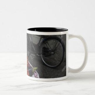 Italy, Brescia Province, Gargnano. Table with 2 Two-Tone Coffee Mug