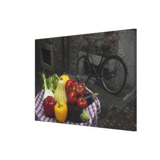 Italy, Brescia Province, Gargnano. Table with Canvas Print