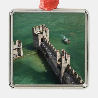 Italy, Brescia Province, Sirmione. Castello 3 Silver-Colored Square Decoration