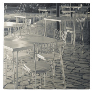 Italy, Brescia Province, Sirmione. Lakeside cafe Large Square Tile