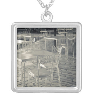Italy, Brescia Province, Sirmione. Lakeside cafe Silver Plated Necklace