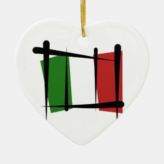 Italy Brush Flag Christmas Ornament