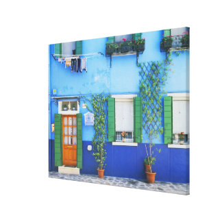 Italy, Burano. A colorful house in Burano near Canvas Print