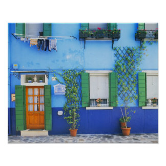Italy, Burano. A colorful house in Burano near Poster