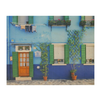 Italy, Burano. A colorful house in Burano near Wood Wall Art
