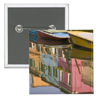 Italy, Burano. Boats on a canal with 15 Cm Square Badge