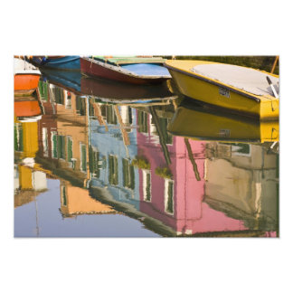 Italy, Burano. Boats on a canal with Photo Print