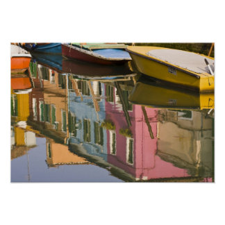 Italy, Burano. Boats on a canal with Poster