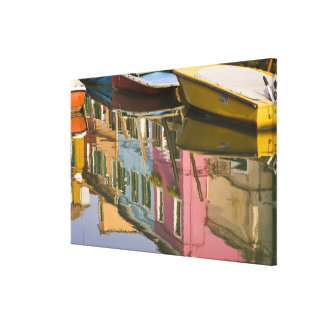Italy, Burano. Boats on a canal with Stretched Canvas Print